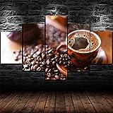 TOPRUN Cuadro Moderno En Lienzo 5 Piezas XXL Granos de Taza de café Negro HD Abstracta Pared Imágenes Modulares Sala De Estar Dormitorios Decoración para El Hogar 150X80Cm