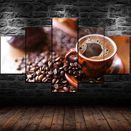 SHENQI-5 Piezas Impresiones En Lienzo Impresión Arte Imagen Gráfica Lienzo Decoracion Cuadros para Dormitorios Modernos 150X80Cm- Cartel De Arte De Pared De Granos De Taza De Café Negro