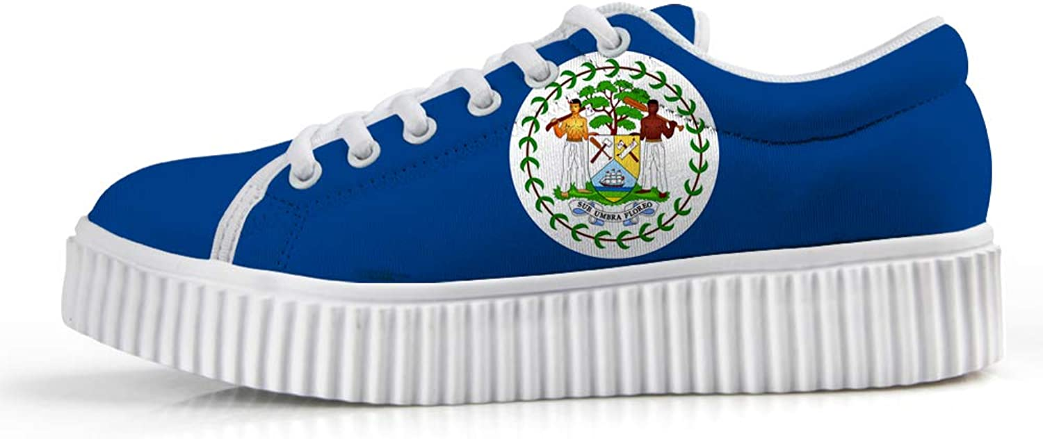 Owaheson Platform Lace up Sneaker Casual Chunky Walking shoes Low Top Women Belize Flag