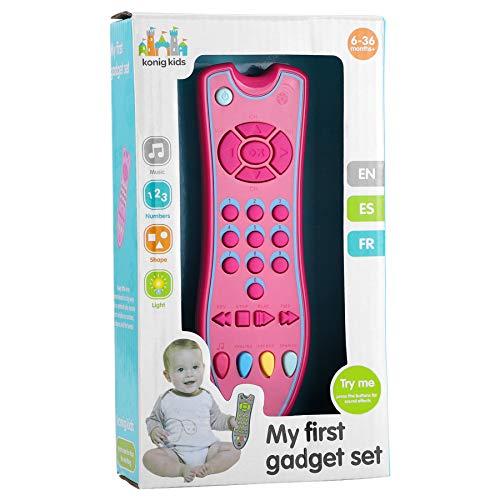 rongweiwang Niños Control Remoto del televisor Juguete temprano televisión a Distancia Botón de Educación de plástico eléctricos Número de Controlador de televisión en Color Aleatorio, Rosa