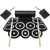 Juego de batería electrónica de almohadillas, juego de almohadillas de batería enrollable electrónica digital Kit de salida MIDI Juegos Dtxmania, hoja de silicona portátil 9 almohadillas ,Negro