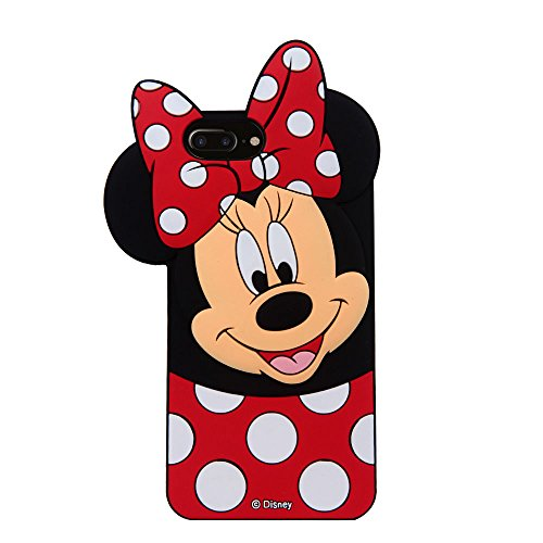 CHOCOCASE 3D Cartoon Silicone Case for Apple iPhone 7+ 7Plus Red Polka Dot Bowknot Ultra Thick Drop Resistant Cute and Protective Design Gift for Kids Teens Girls Women