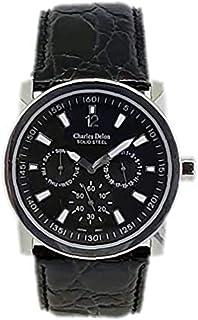 Charles Delon Mens Quartz Watch, Analog Display and Leather Strap 3983 GSBB