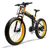 LANKELEISI 750PLUS 48 V 14.5AH 1000 W Motor todopoderoso Bicicleta eléctrica 26 Pulgadas 4.0 neumáticos Grandes MTB Bicicleta eléctrica Plegable para Adulto/Hombre con Dispositivo antirrobo, Amarillo