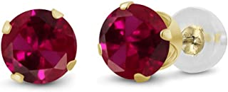 14K Yellow Gold Red Created Ruby Stud Earrings 1.20 cttw Round 5MM