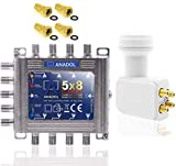 Anadol Quadline - Juego de conmutador digital multiconmutador 5/8 para 8 participantes, multiswitch 5-8 satélite para satélite, apto para Quad y Quattro LNB y Anadol Quad LNB - HDVT 4K UHD