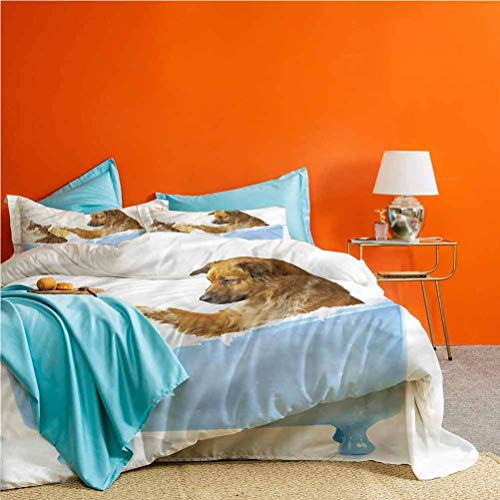 prunushome Cat 3pcs Bedding Duvet Cover Set Dog and Cat in Bathtub Best Hotel Luxury Bedding Includes 1 Duvet Cover & 2 Pillow Shams Queen Size