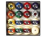 JAPER BEES Marble Swirl Dark Pool Balls Set Billiard Balls Pool Table Balls Regulation Size and Weight