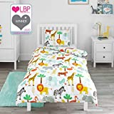 Bloomsbury Mill - Safari Adventure - Jungle Animals - Kids <span class='highlight'>Bed</span>ding Set - Junior/Toddler/Cot <span class='highlight'>Bed</span> Duvet Cover and Pillowcase