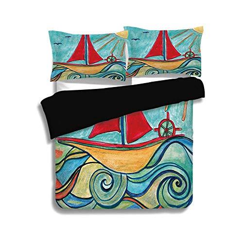Ensemble de housse de couette noir, Art, peintures pour bébé garçon, navire dans les vagues de l'océan, soleil, enfants, photo de chambre d'enfant, décoratif, jaune turquoise, jaune terre, ensemble dé