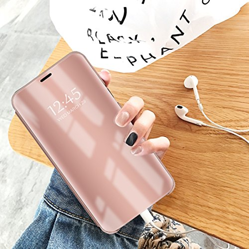 Luxus Spiegel Hülle kompatibel mit Huawei Y6/Y6 Pro 2019, Clear View Makeup Effect PU Leder Flip Hülle Screen Protector STO?fest hülle mit Standfunktion (Huawei Y6, Rotgold)