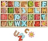 Wooden Letters and Flower Set with Storage Tray Lettere Maiuscole in Legno, Alfabeto in legno,Confezione da 112 pezzi