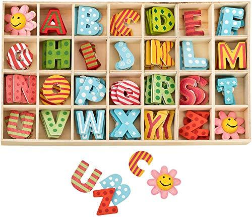 Holzbuchstaben Großbuchstaben, 86Pcs Bunt Alphabet Und Blume Buchstaben aus Holz, Kid Holzspielzeug Lernspielzeug Handwerk Holz Buchstaben Für Kunsthandwerk DIY
