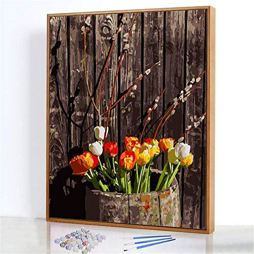 Diy Digitale Olieverfschilderij,Houten vat bloem Schilderen Door Cijfers,Linnen Canvas ,Foto Voor Binnendecoratie - 40x50cm(Fotolijst)