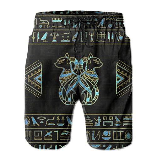 ZORIN Bañador para hombre con diseño de gatos egipcios, jeroglíficos, color dorado y azul
