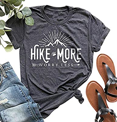 Hike More Worry Less Shirts for Women Hiking Shirt Funny Letter Print Tshirt Short Sleeve Shirt Gift for Hiker Gray