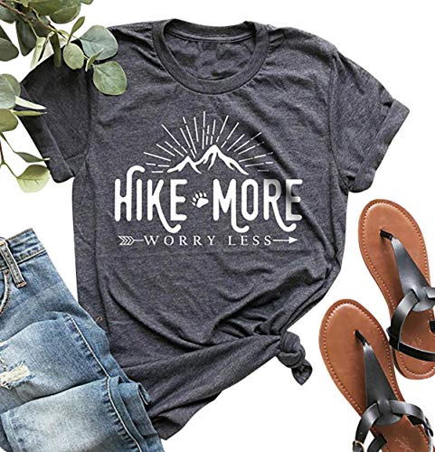 Hike More Worry Less Shirts for Women Hiking Shirt Funny Letter Print Tshirt Short Sleeve Shirt Gift for Hiker, Best gift for hikers