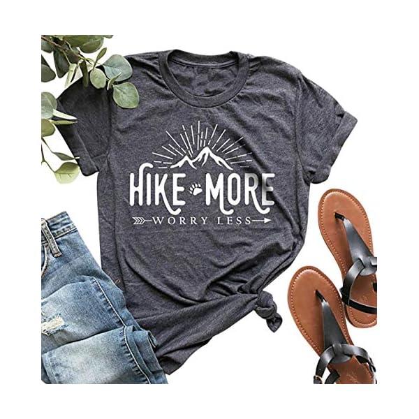 Hike More Worry Less Shirts for Women Hiking Shirt Funny Letter Print Tshirt Short...