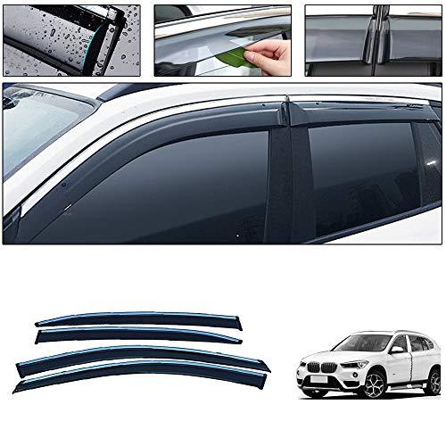 saitake Windabweiser Für BMW X1 2016-2018 4PCS Autofenster Visier Sonne Regen Rauchabzug Schatten Klebeband Außenvisiere