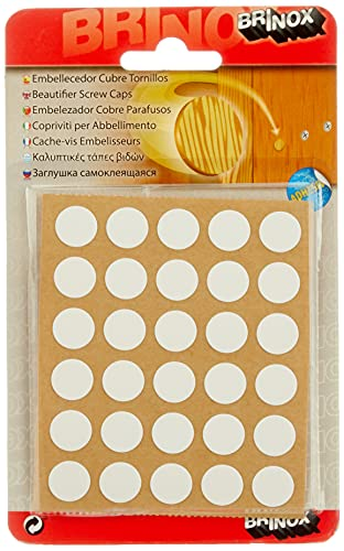 Brinox B77900B Embellecedor Cubre-Tornillos Adhesivo, Blanco, Set de 30 Piezas