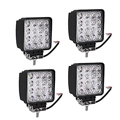 LED Light Bar YITAMOTOR LED Pod Light, 4Pcs 4Inch 48W Square Flood Work Light Offroad Light Led Fog Light Truck Light Driving Light Boat Lighting for Tractor ATV 4X4 12V 24V, 2 Years Warranty