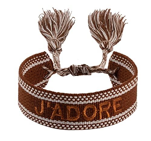 Pulseras de la amistad, pulsera de tela con bordado, pulseras tejidas para mujeres, pulseras de la amistad, pulsera ajustable, Algodón,