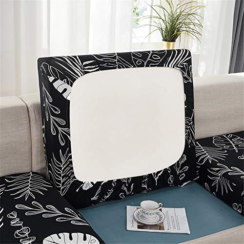 Fundas de cojín de sofá elásticas con banda elástica, fundas de cojín de repuesto para cojines individuales (hojas negras, 1 plaza)