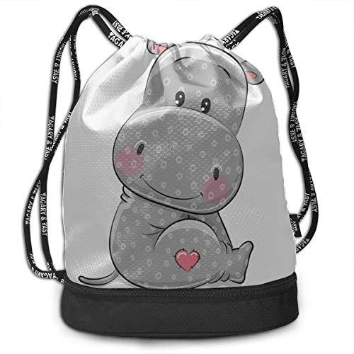 OKIJH Backpacking Backpack Friendly Passionate Positive Hippo Gym Drawstring Bags Backpack Sports String Bundle Backpack for Sport with Shoe Pocket Drawstring Bag for Men