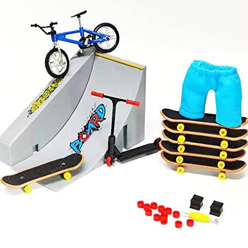 DRXX Finger Skate Park Kit, Mini Finger Toy Set, Finger Skateboard Ramp Set, Skate Park Kit Que Incluye Park, Vitality Board, Pantalones, Bicicleta, Monopatín, Accesorios