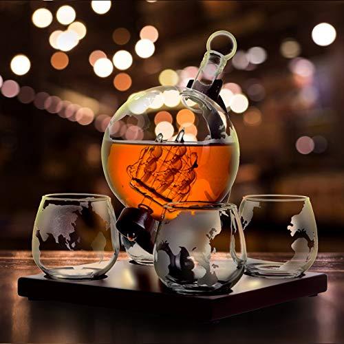 TTLIFE Whisky Jarra Set 1000ml Globe Decanter para Vino Tiene un diseño de velero con Cuatro Vasos de Vidrio y un Soporte de Madera clásico para Hombres y Mujeres