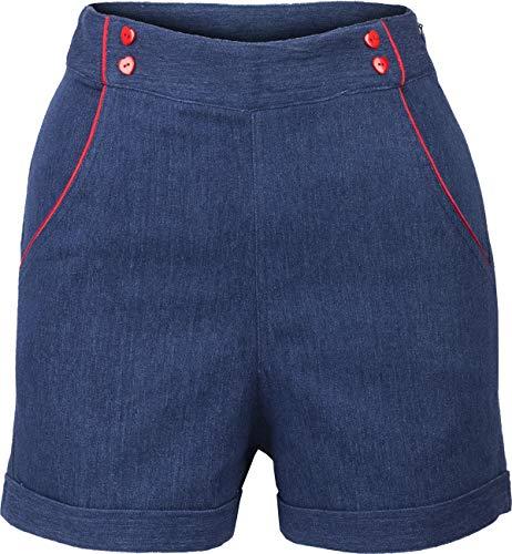 Küstenluder Damen Hose Inessa Vintage Jeans Denim Shorts Blau M