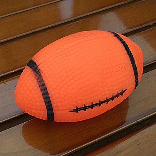 Good01Pet Puppy Chew Bite Rugby Ball quietschelement Sound Spielzeug Hund Geschenk–zufällige Farbe, Zufällige Farbauswahl, 2cm x 6cm