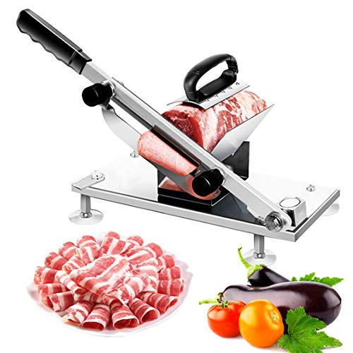 Manual Frozen Meat Slicer, Stainless Steel Meat Cutter Beef Mutton Roll Meat Cheese Food Slicer Vegetable Sheet Slicing Machine, Deli Slicer for Home Kitchen