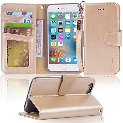 Arae Case for iPhone 6s / iPhone 6, Premium PU Leather Wallet case [Wrist Strap] Flip Folio [Kickstand Feature] with ID&Credit Card Pockets for iPhone 6s / 6 4.7 inch (Champagne Gold)