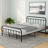 mecor Metal King Size Platform Bed Frame / Mattress Foundation with Vintage Headboard and Footboard / Heavy Duty Square Metal Frame / No Box Spring Needed - King, Black