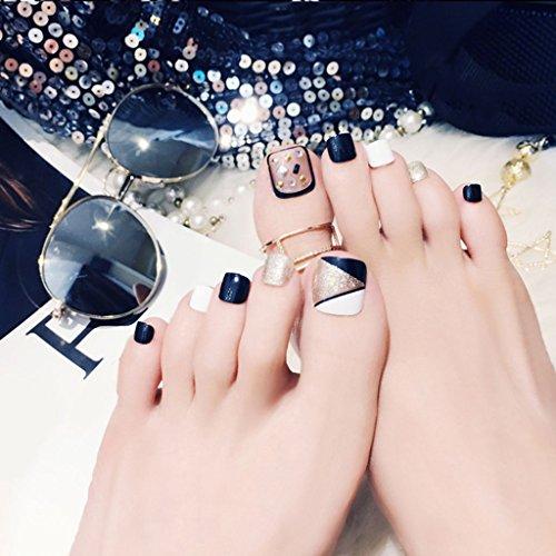 24 uñas postizas de pie falsas para uñas, herramientas de arte de uñas, estilo novedoso, regalo de día festivo...