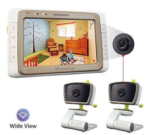 MoonyBaby Split Screen, Wide Angle, 2 Cameras Video Baby Monitor with 5 inches Screen, Automatic Night Vision, Temperature Monitoring, 2 Way Talkback