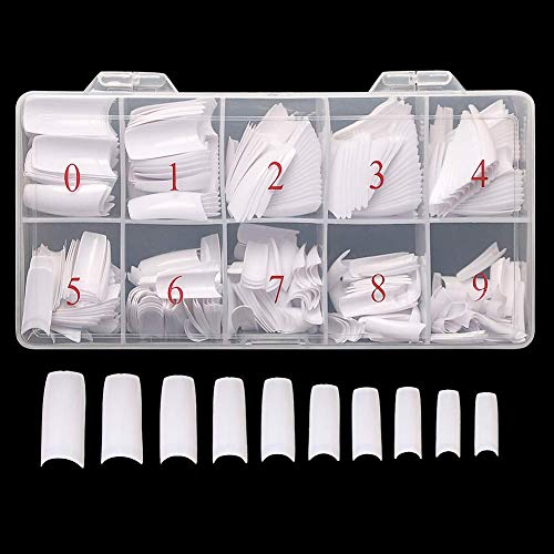 AORAEM 500pcs Lady White French Acrylic Style Artificial False Nails Half Tips & Box (White)