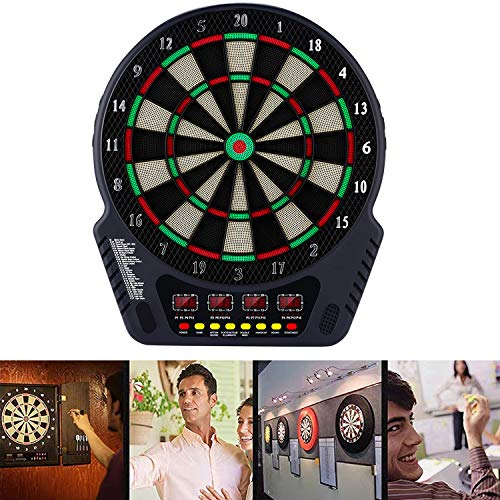 Elektronische Dartscheibe Dardboard mit 4 LCD-Anzeige, 6 Dartpfeilen| 27 Spiele mit 243 Spieloptionen Profi Elektronik Dartspiel E Dartautomat (SchwarzWeiß)