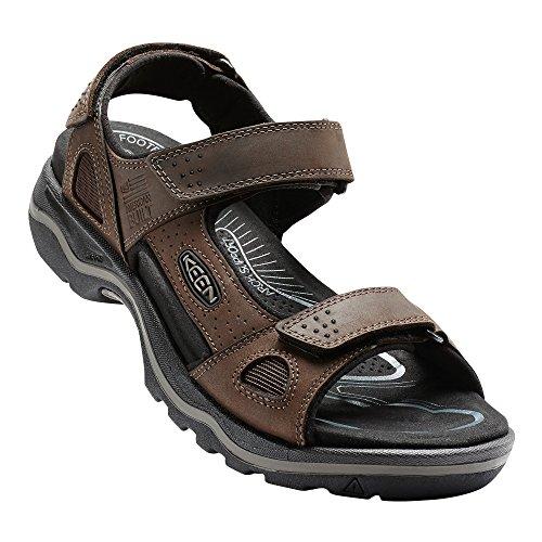 Keen Adults - US SHOES KEEN Rialto 3-Punkt-Sandale für Herren für den Außenbereich, Braun (Dunkle Erde/Schwarz), 39 EU