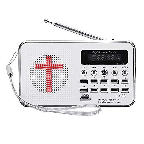 OverTop Bibel MP3 Audio Musik-Player Tragbar Mini FM Radio TF USB LED Display Digital Tastatur Funktion für ältere Menschen Geschenk