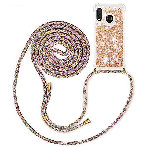 MXKOCO Handykette kompatibel mit Samsung Galaxy A20e/A10e Glitzer Flüssig Bewegende Treibsand Hülle mit Band Umhängetaschen+Hüllen mit Umhängeband Handykordel mit Schutzhülle Stylische Kette mit Hülle