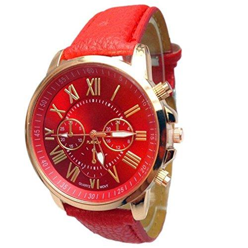 Tefamore Orologio analogico al quarzo con cinturino in similpelle, da donna, con indici eleganti, Red