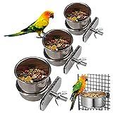 Taza de Alimentación de Loros Cuenco de Comida para Pájaros 3 Piezas Cuenco de Comida Colgante Taza de Comida para Pájaros con Clip para Accesorios de Jaula de Pájaros de Chinchilla Loro Hámster