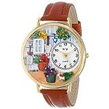 ガーデニング 茶色レザー ゴールドフレーム 時計 #G1210008