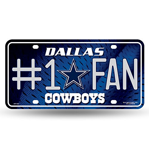 NFL Rico Industries #1 Fan Metal License Plate Tag, Dallas Cowboys