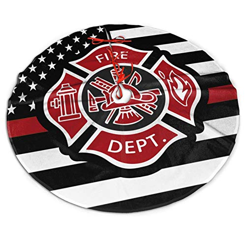 Jpnvxie Christmas Tree Skirts Firefighter Fireman Fire Dept Rescue Uniform Thin Red Line US Flag Printed Tree Skirt 36inch(91cm) Gorgeous Xmas Holiday Party Ornaments Keepsake Gift