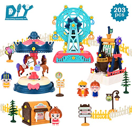STEM Toys, DIY Toy Building Sets Amusement Park with Tool (203 Pcs), Educational Construction Engineering Building Blocks Toys Set for 6 7 8 9 10+ Year Old Boys & Girls | Best Birthday Gifts for Kids