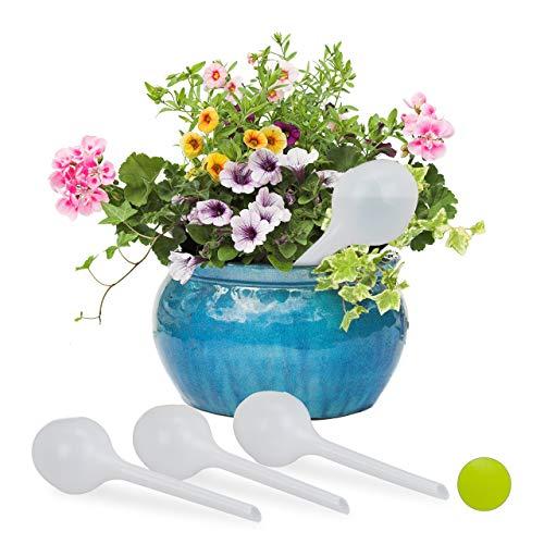 Relaxdays Colori Set 4 Sfere per Irrigazione a Bocciolo, Dosatori per Piante, in Vacanza, Ø 8cm, in Plastica, Vari, PP, 27.00 x 8.00 x 8.00 cm