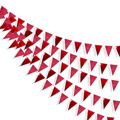 Pinkblume 78 Banderas Guirnaldas Papel Triángulo Banner Decoracion Banderines para Fiesta Gran Apertura de Fiestas y Picnic Patio (Rojo)